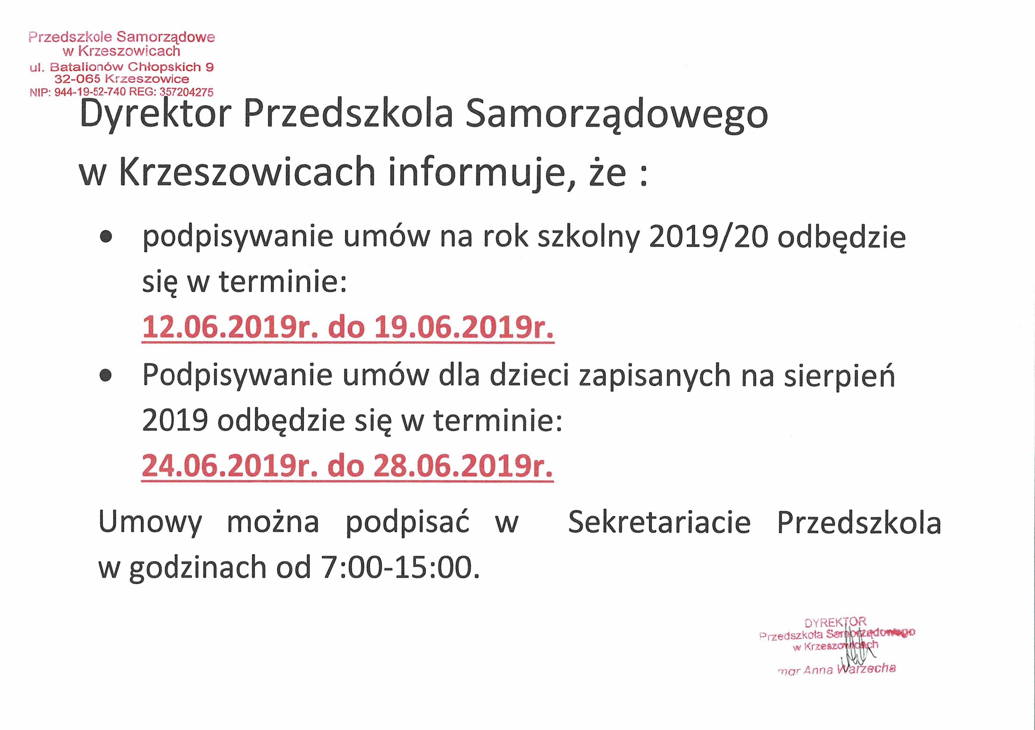 Podpisywanie umów na wakacje i nowy rok szkolny 2019/20