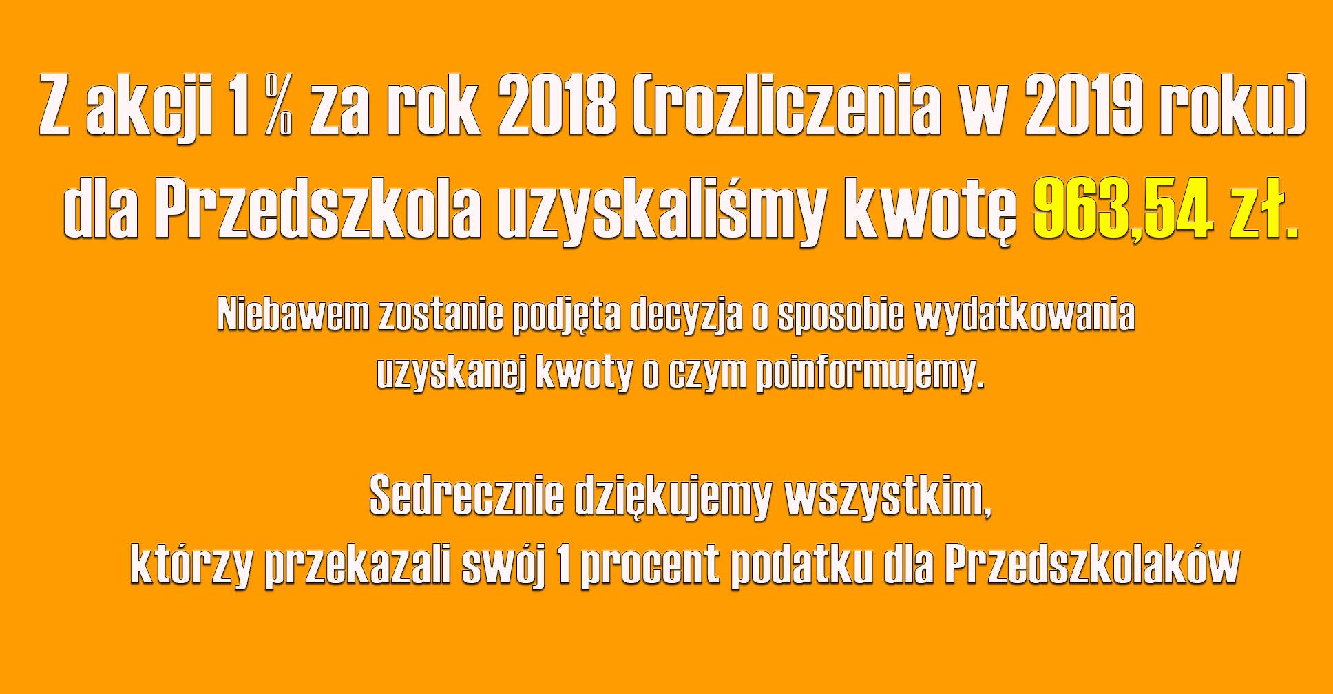 1 procent za rok 2018