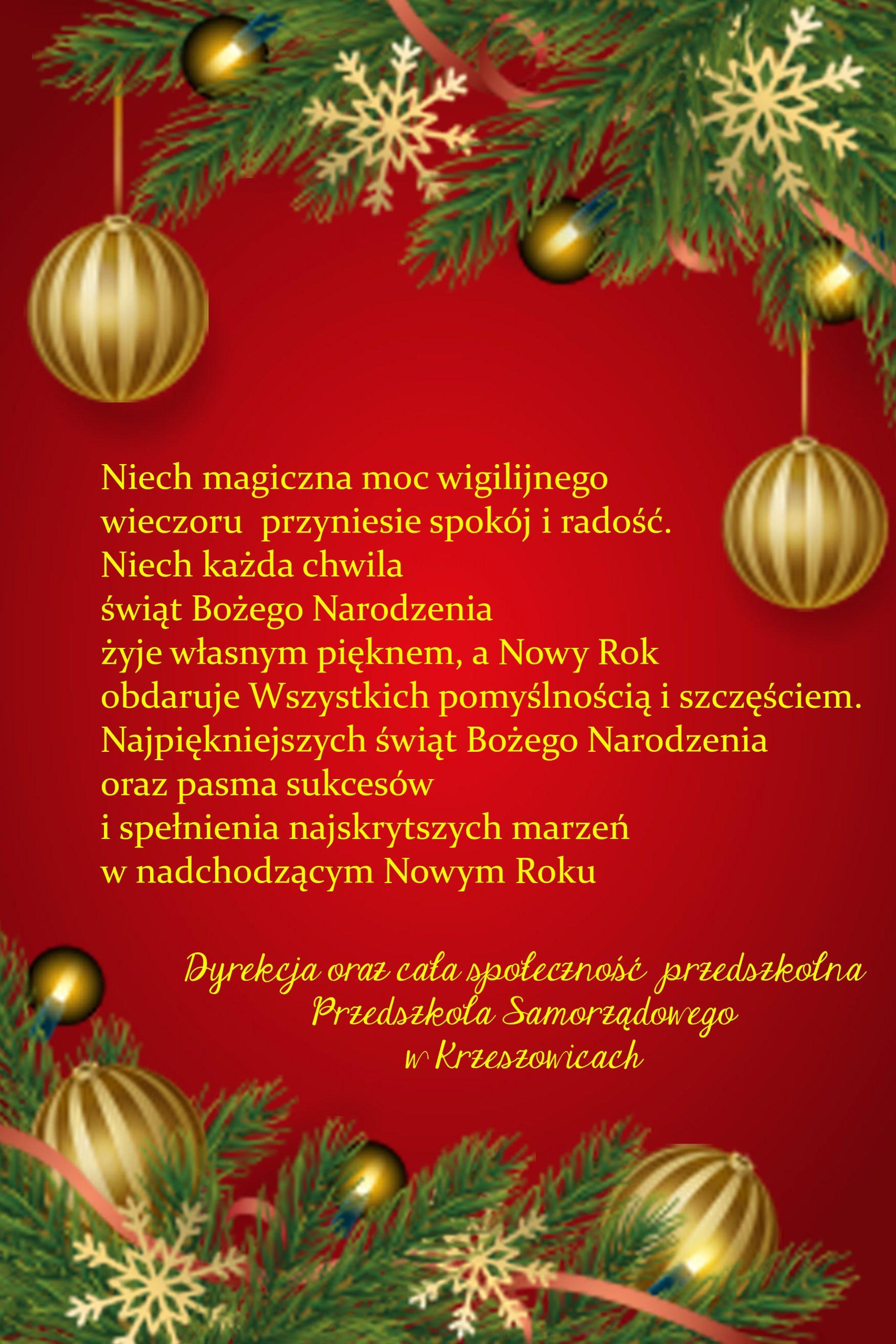 Życzenie Bożonarodzeniowe 2019