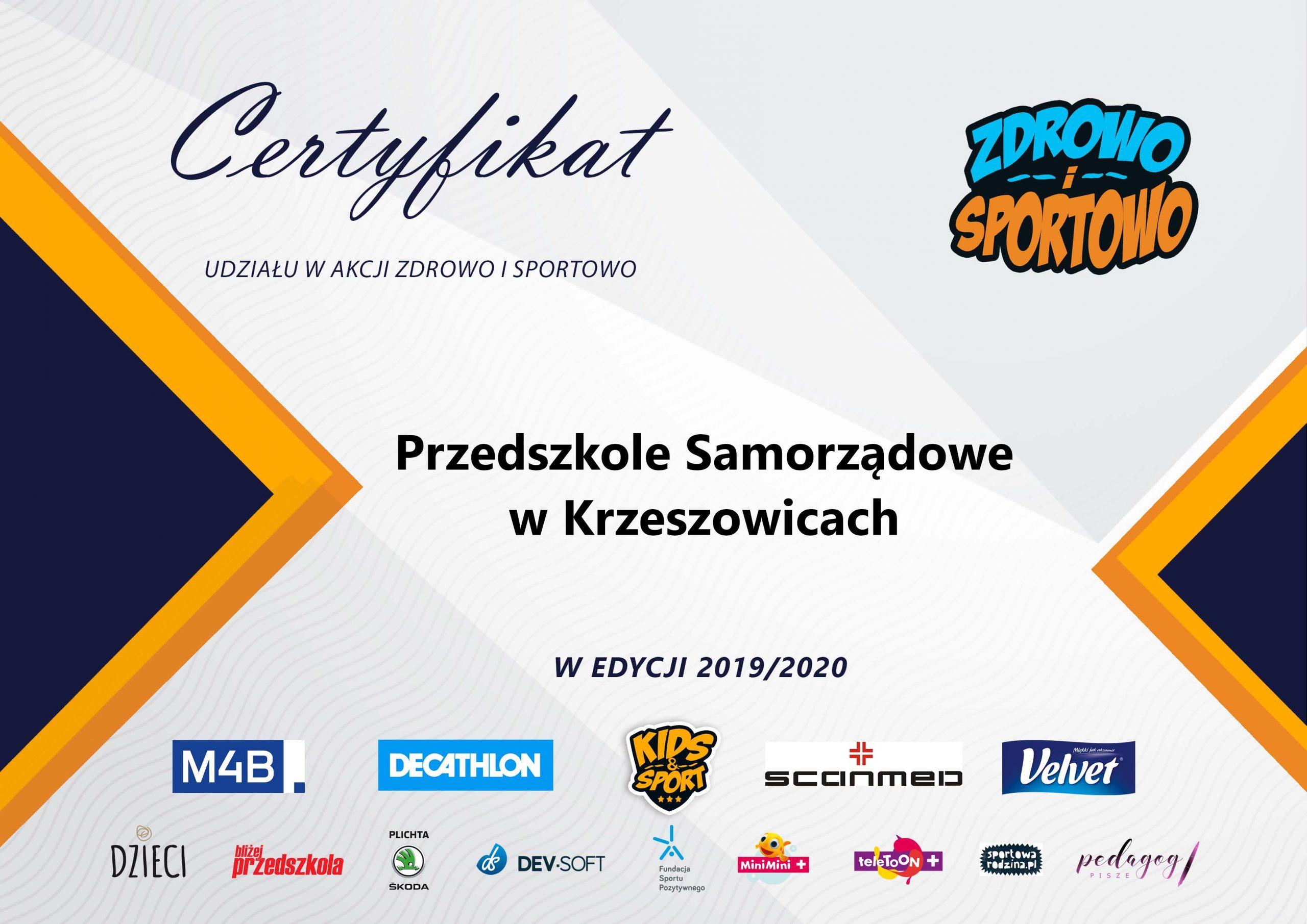 Certyfikat Zdrowo i Sportowo