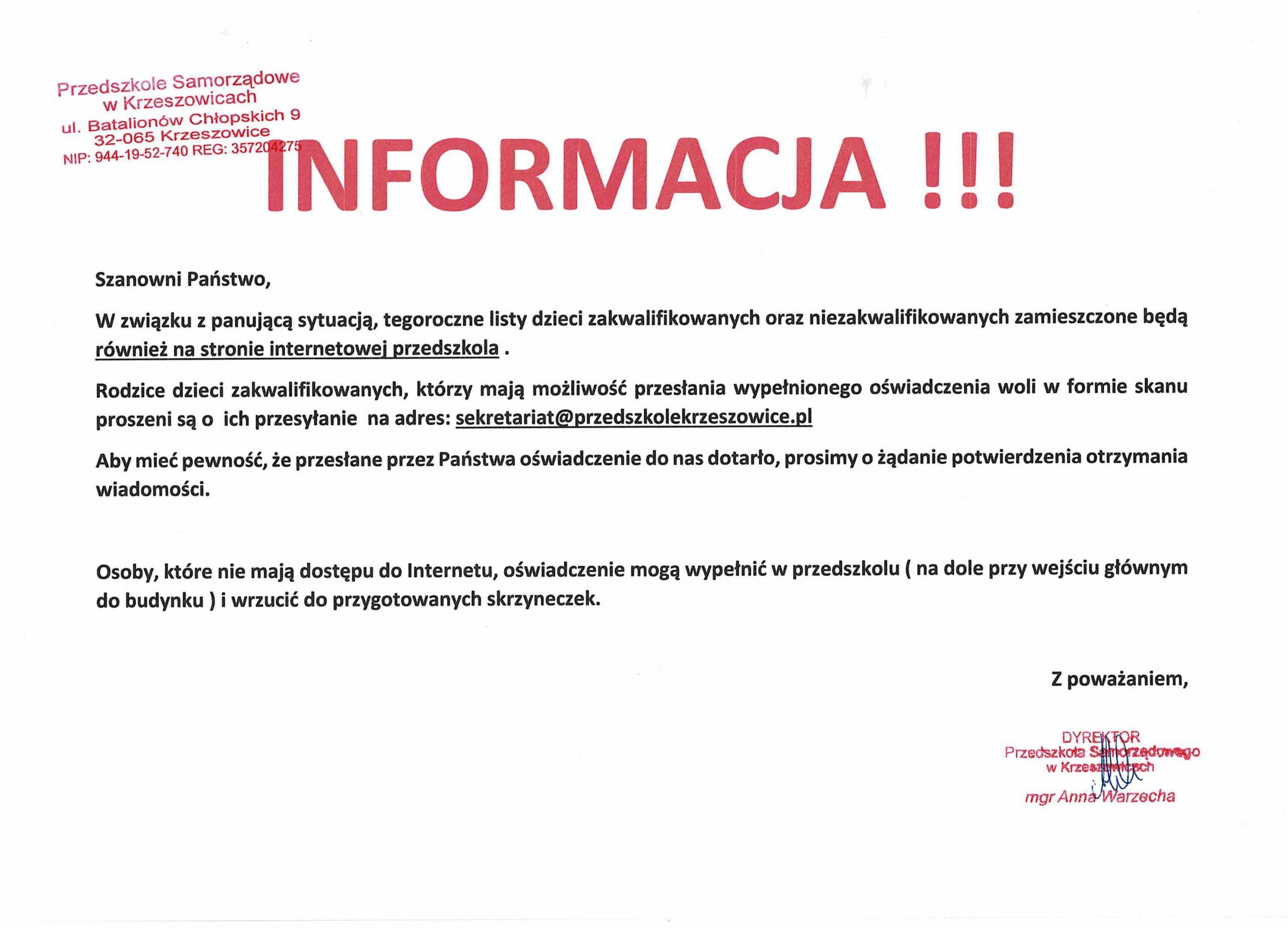 Informacja o zakwalifikowaniu się do Przedszkola