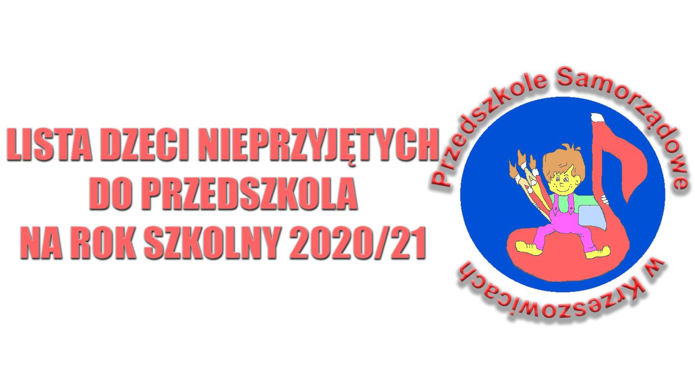 Lista dzieci nieprzyjętych do Przedszkola na rok szkolny 2020/21
