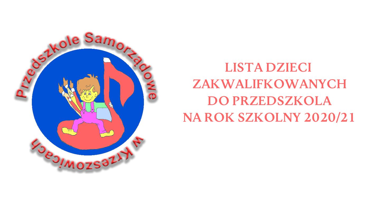 Listy dzieci zakwalifikowanych do Przedszkola na rok 2020/21