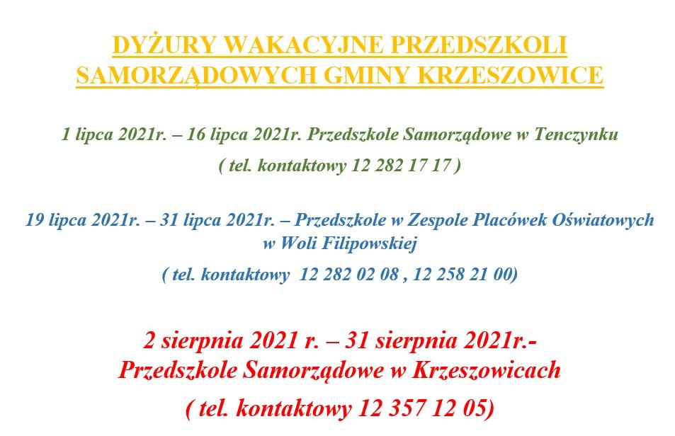 Informacja dotycząca dyżuru wakacyjnego – w roku szkolnym 2020-2021