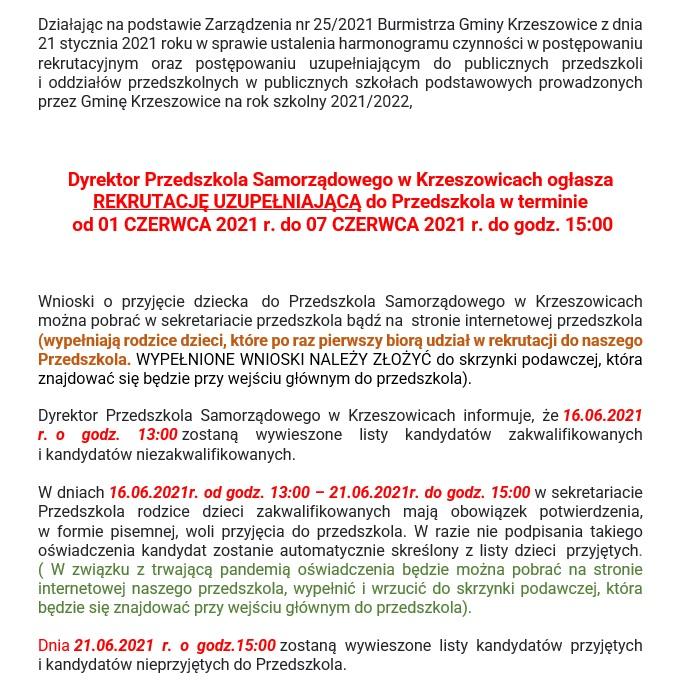 REKRUTACJA UZUPELNIAJĄCA NA ROK SZKOLNY 2021/2022