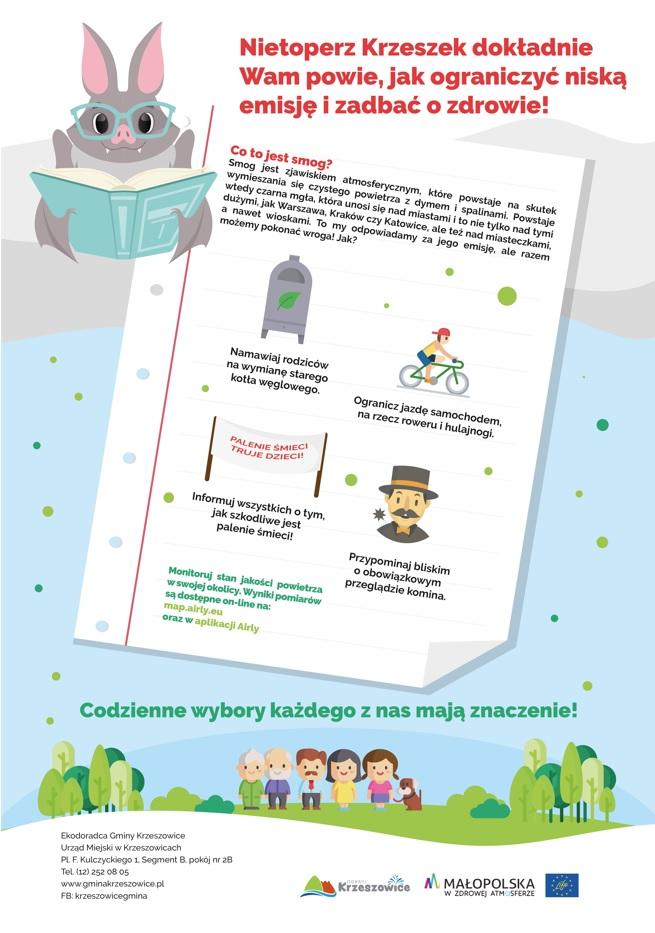 Kampania edukacyjna 2021- Nietoperz Krzeszek dokładnie Wam powie, jak ograniczyć niską emisję i zadbać o zdrowie!